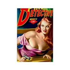 Pinup Detective Pulp Magazine Cov Rectangle Magnet