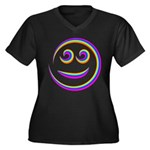Smiley Swirl Women's Plus Size V-Neck Dark T-Shirt