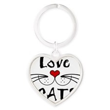 ligth love cats whiskers tee Heart Keychain