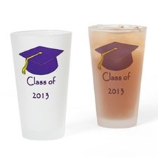 Class of 2013 Purple and Gold Cap Drinking Glass