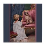 """Playing Teacher"" 1920 Child & Pug ~ #2-Tile"