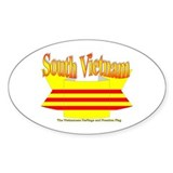 South Vietnam flag ribbon Oval Decal