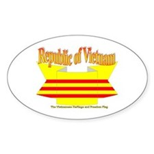The Vietnamese-american flag ribbon Oval Decal