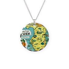 Vintage Florida Sun Map Necklace Circle Charm