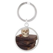 stack of books with skull Round Keychain