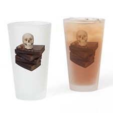 stack of books with skull Drinking Glass