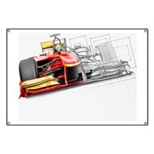 Unfinished drawing of red race car with dri Banner