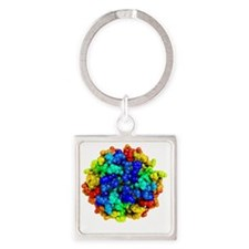 Mutant insulin, molecular model Square Keychain