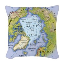 Digital illustration of map sh Woven Throw Pillow