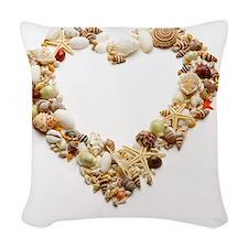Assorted seashells form heart  Woven Throw Pillow