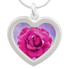 Cerose rose on pink and purp Silver Heart Necklace