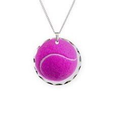 PINK TENNIS BALL Necklace Circle Charm