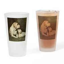 Labrador dog with her puppy Drinking Glass