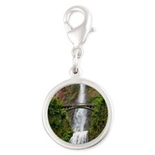 Multnomah Waterfall at Oregon. Silver Round Charm