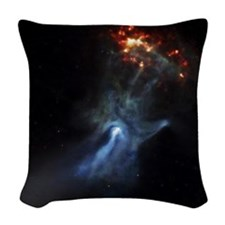 Hand In Space Woven Throw Pillow