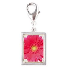 Pink gerbera daisy isolated  Silver Portrait Charm