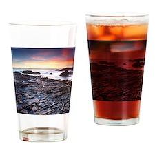 Sunset on a rocky California beach, Drinking Glass