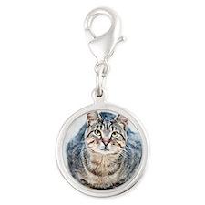 Street cat. Silver Round Charm