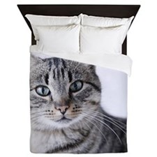 Tabby gray cat and green eyes. Queen Duvet