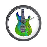 """Foil Green"" Guitar Wall Clock"