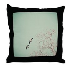 Two geese migrating by beautiful birc Throw Pillow