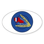 Giant Sling Shot (Blue) Oval Sticker