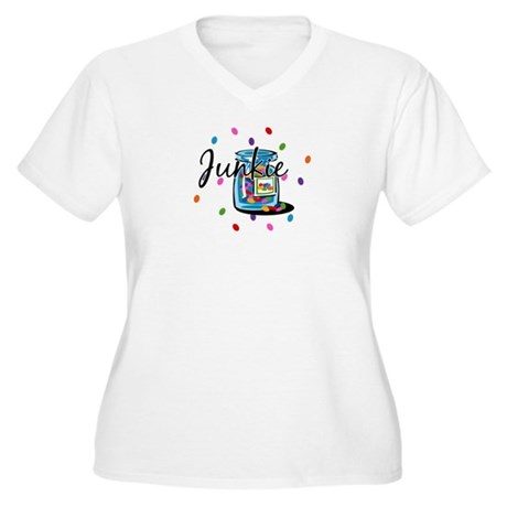 Jelly Bean Junkie Women's Plus Size V-Neck T-Shirt