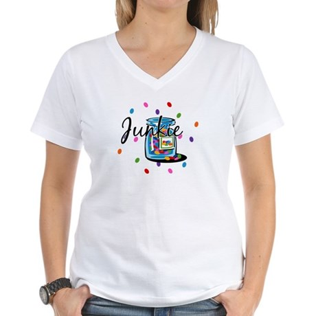 Jelly Bean Junkie Women's V-Neck T-Shirt