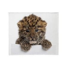 Amur leopard cub Throw Blanket