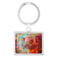 Abstract Painting In Mixed Medi Landscape Keychain