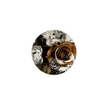Grunge Flowers Mini Button