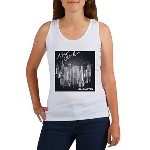Hand-drawn new york architecture Women's Tank Top