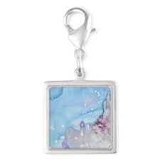 Watercolor Wash Fairytale Loo Silver Square Charm