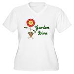 Flower Garden Diva Women's Plus Size V-Neck T-Shir