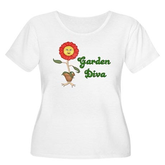 Flower Garden Diva Women's Plus Size Scoop Neck T-