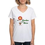 Flower Garden Diva Women's V-Neck T-Shirt