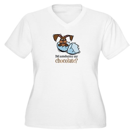 Somebunny Chocolate Women's Plus Size V-Neck T-Shi