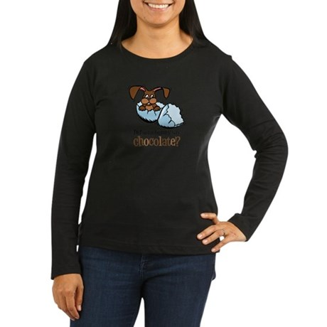 Somebunny Chocolate Women's Long Sleeve Dark T-Shi