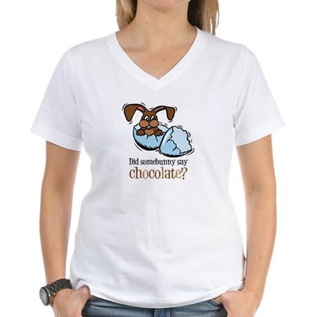 Somebunny Chocolate Women's V-Neck T-Shirt