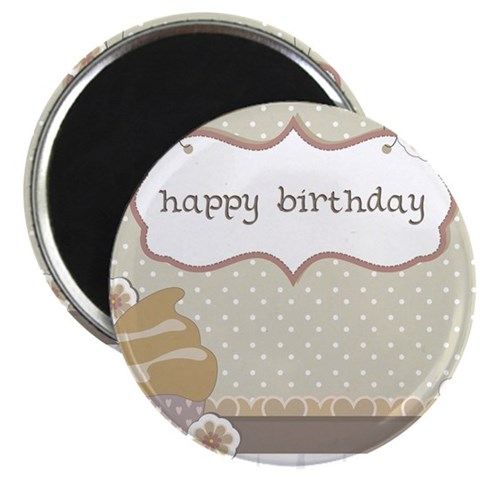 Happy Birthday Cup Cake Card Magnet