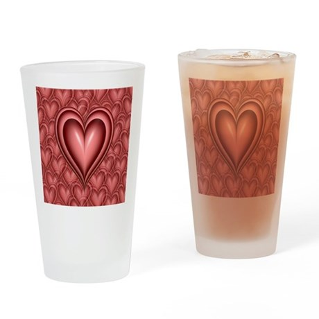 Pink Heart Drinking Glass