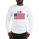 I love Liberia Flag Long Sleeve T-Shirt