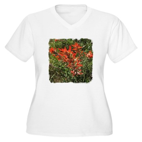 Indian Paintbrush Women's Plus Size V-Neck T-Shirt
