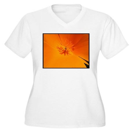 California Poppy Women's Plus Size V-Neck T-Shirt