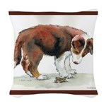 PuppyGrasshopper.png Woven Throw Pillow