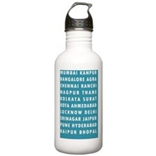Teal Indian Cities Water Bottle