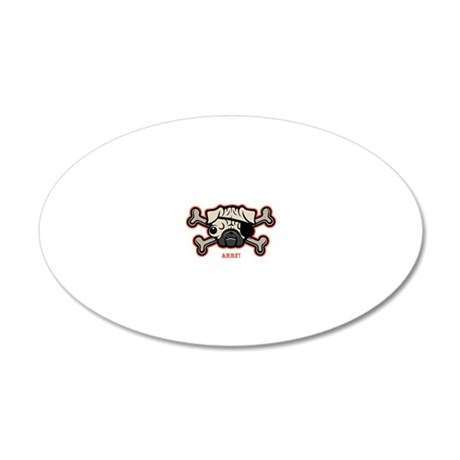 pug-pirate-21213-T 20x12 Oval Wall Decal