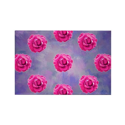 Rose ornament on pink and purple Magnet