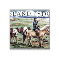 "Iceland 1997 Overland Post  Square Sticker 3"" x 3"""