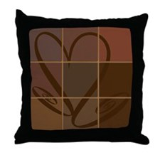 Brown heart Throw Pillow